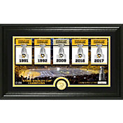 "Highland Mint Pittsburgh Penguins 5X Stanley Cup Champions ""Traditions"" Panoramic Bronze Coin Photo Mint"