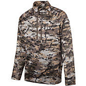 Huntworth Men's Soft Shell Hybrid Half Zip Camo Pullover