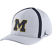 Jordan Men's Michigan Wolverines White Aerobill Swoosh Flex Classic99 Football Sideline Hat