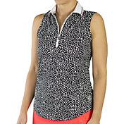 Jofit Women's Ribbed Collar Sleeveless Golf Polo