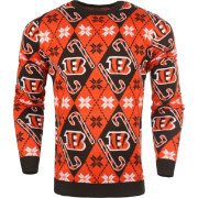 KLEW Men's Cincinnati Bengals Candy Cane Ugly Sweater