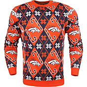KLEW Men's Denver Broncos Candy Cane Ugly Sweater