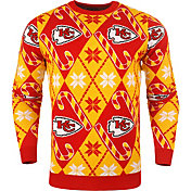 KLEW Men's Kansas City Chiefs Candy Cane Ugly Sweater