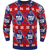 KLEW Men's New York Giants Candy Cane Ugly Sweater