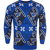 KLEW Men's St. Louis Blues Candy Cane Ugly Sweater