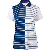 Lady Hagen Women's Bon Voyage Collection Stripe Zipper Golf Polo