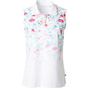 Lady Hagen Women's Calypso Collection Ombre Floral Print Sleeveless Golf Polo