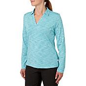 Lady Hagen Women's Essential Space Dye Long Sleeve Polo - Extended Sizes