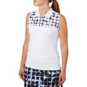 Lady Hagen Vintage Collection Yarn Printed Sleeveless Golf Polo