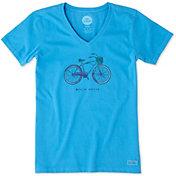 Life is Good Women's Basket Bike Crusher Vee T-Shirt