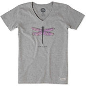Life is Good Women's Dragonfly Engraved Crusher Vee T-Shirt
