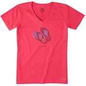 Life is Good Women's Flip Flops Engraved Crusher Vee T-Shirt