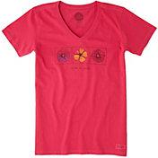 Life is Good Women's Three Flowers Crusher Vee T-Shirt