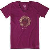 Life is Good Women's Sunflower Engraved Crusher Vee T-Shirt