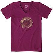 Life is Good Women's Sunflower Engraved Crusher Vee T-Shirt