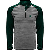Levelwear Men's Michigan State Spartans Grey Vandal Quarter-Zip Shirt