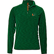 Levelwear Men's Miami Hurricanes Green Mobility Quarter-Zip Long Sleeve Shirt