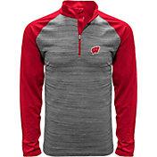 Levelwear Men's Wisconsin Badgers Grey Vandal Quarter-Zip Shirt