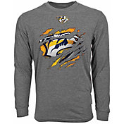 Levelwear Men's Nashville Predators Ripped Logo Charcoal Long Sleeve T-Shirt