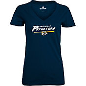 Levelwear Women's Nashville Predators Logo Navy V-Neck T-Shirt