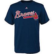 Majestic Boys' Atlanta Braves Wordmark Navy T-Shirt