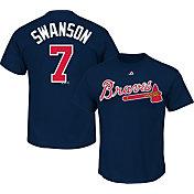 Majestic Men's Atlanta Braves Dansby Swanson #7 Navy T-Shirt