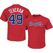 Majestic Men's Atlanta Braves Julio Teheran #49 Red T-Shirt