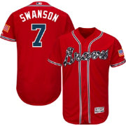 Majestic Men's Authentic Atlanta Braves Dansby Swanson #7 Flex Base Alternate Red On-Field Jersey