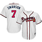 Majestic Men's Replica Atlanta Braves Dansby Swanson #7 Cool Base Home White Jersey