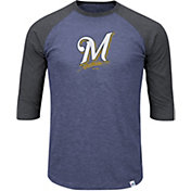 Majestic Men's Milwaukee Brewers Navy/Grey Raglan Three-Quarter Sleeve Shirt