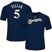 Majestic Men's Milwaukee Brewers Jonathan Villar #5 Navy T-Shirt