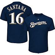 Majestic Men's Milwaukee Brewers Domingo Santana #16 Navy T-Shirt