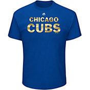 Majestic Men's Chicago Cubs Gold Wordmark Royal T-Shirt