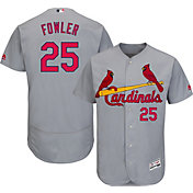 Majestic Men's Authentic St. Louis Cardinals Dexter Fowler #25 Flex Base Road Grey On-Field Jersey