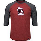 Majestic Men's St. Louis Cardinals Red/Grey Raglan Three-Quarter Sleeve Shirt