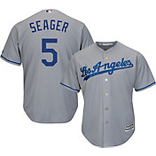 Majestic Men's Replica Los Angeles Dodgers Corey Seager #5 Cool Base Road Grey Jersey