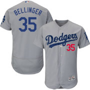 Majestic Men's Authentic Los Angeles Dodgers Cody Bellinger #35 Flex Base Alternate Road Grey On-Field Jersey