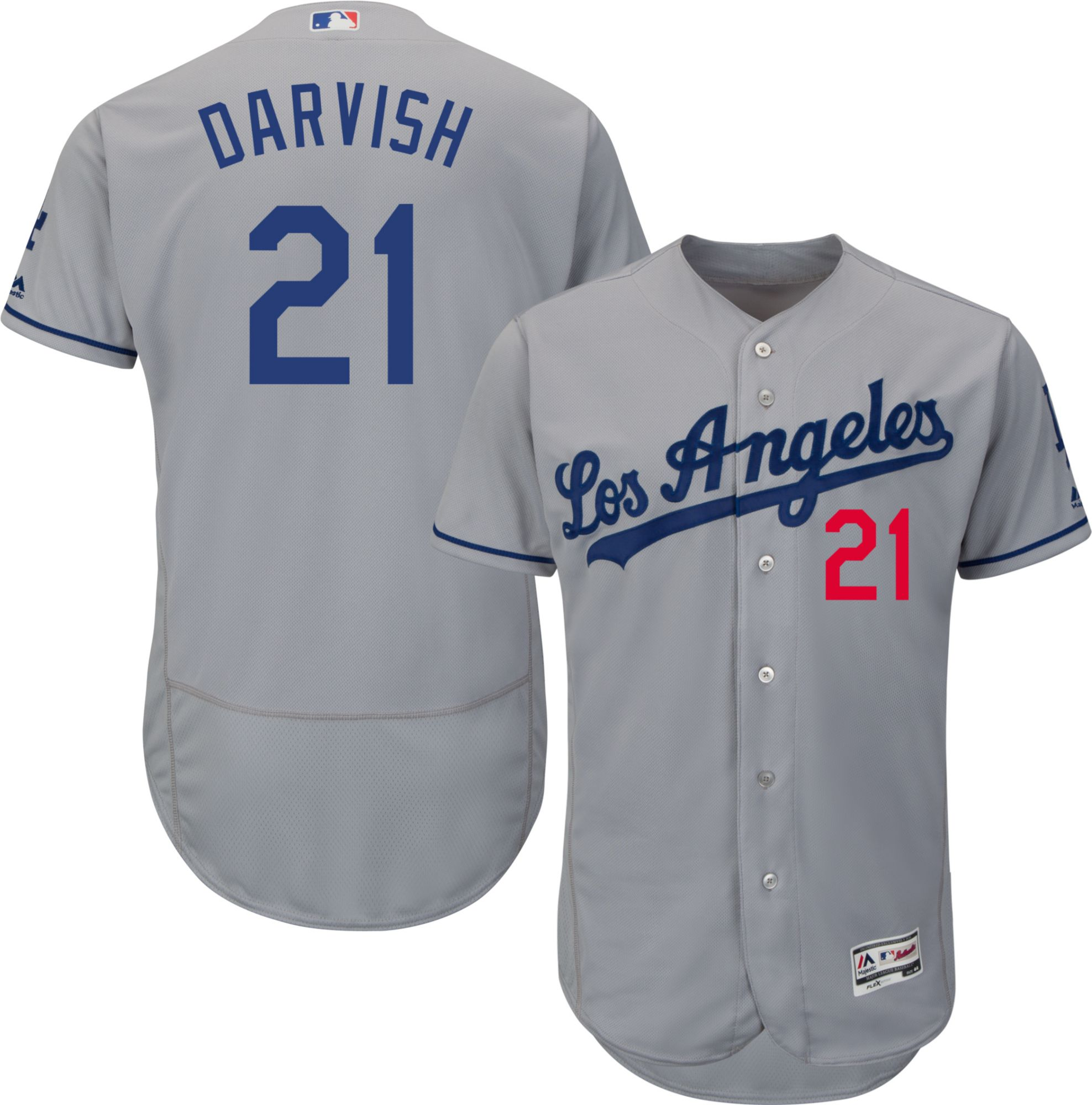 ... majestic mens authentic los angeles dodgers yu darvish 21 flex base  road grey ... a201236dce9
