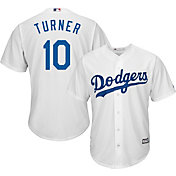 Majestic Men's Replica Los Angeles Dodgers Justin Turner #10 Cool Base Home White Jersey
