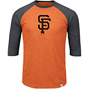 Majestic Men's San Francisco Giants Orange/Grey Raglan Three-Quarter Sleeve Shirt