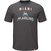 Majestic Men's Miami Marlins Stoked Grey T-Shirt