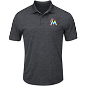 Majestic Men's Miami Marlins Cool Base Grey Polo