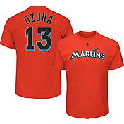 Majestic Men's Miami Marlins Marcell Ozuna #13 Orange T-Shirt