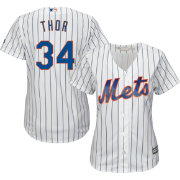 "Majestic Women's Replica New York Mets Noah Syndergaard ""Thor"" #34 Cool Base Home White Jersey"