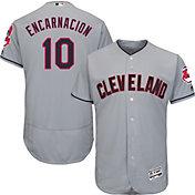 Majestic Men's Authentic Cleveland Indians Edwin Encarnacion #10 Flex Base Road Grey On-Field Jersey