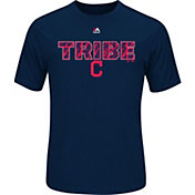 """Majestic Men's Cleveland Indians Cool Base """"Tribe"""" Navy Performance T-Shirt"""