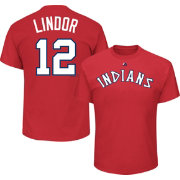 Majestic Men's Cleveland Indians Francisco Lindor #12 Cooperstown Red T-Shirt