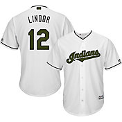 Majestic Men's Replica Cleveland Indians Francisco Lindor #12 2017 Memorial Day Cool Base Jersey