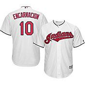 Majestic Men's Replica Cleveland Indians Edwin Encarnacion #10 Cool Base Home White Jersey