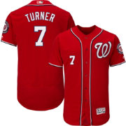 Majestic Men's Authentic Washington Nationals Trea Turner #7 Flex Base Alternate Red On-Field Jersey